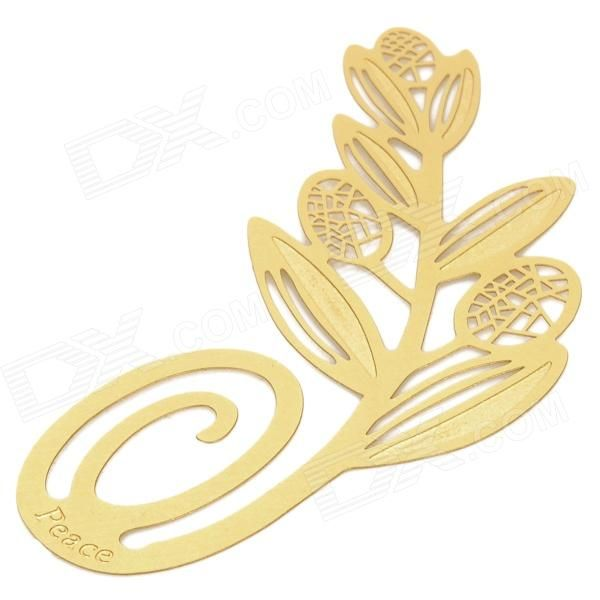 Brand: N/A; Model: A033; Quantity: 1 piece(s) per pack; Color: Golden; Material: Brass + varnish; Specification: Size: 6 x 2.6cm; Olive branch shape bookmark; Packing List: 1 x Bookmark; http://j.mp/1leSD5H