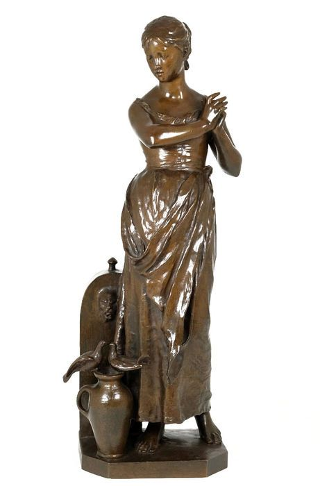 Online veilinghuis Catawiki: Alfred Boucher (1850-1934) - groot fraai uitgevoerd bronzen sculptuur van een dame bij een fontein - Frankrijk - ca. 1900