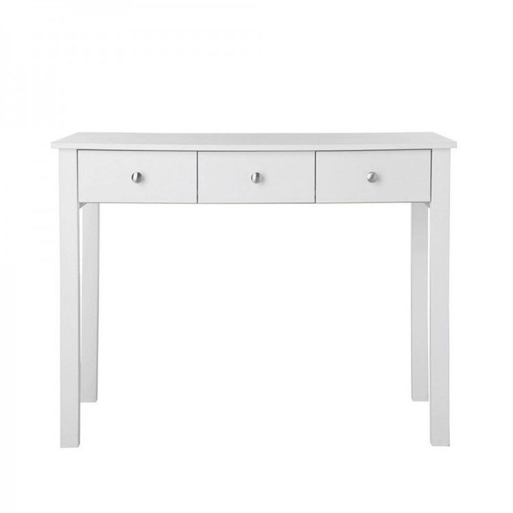 DRESSING TABLE WHITE 3 DRAWER METAL RUNNERS SOLID HOME ASSEMBLY FREE UK DELIVERY