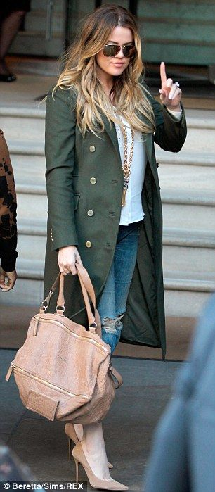Khloe - love this look: olive coat, cream blouse, ripped jeans, nude pumps and purse!  Nice!