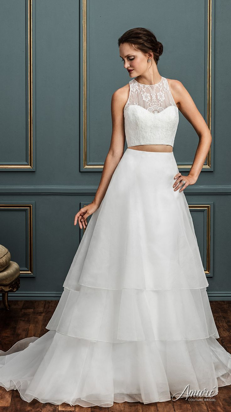 Elegant 2 Piece Wedding Dresses : Best images about crop top two piece wedding dresses