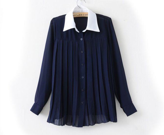 женская ретро плиссированная прозрачная блузка из шифона с длинными рукавами с воротником из шифона