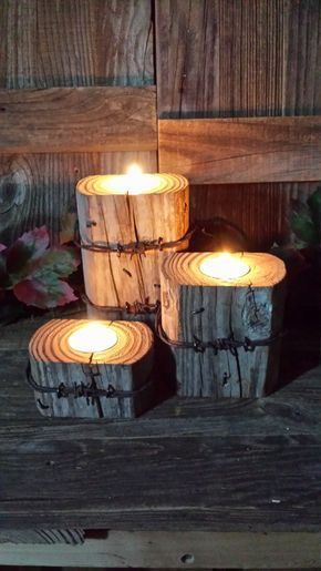 Rustic wooden pillar candle holders,barbed wire,home decor,western,wedding by Katswoodshop on Etsy