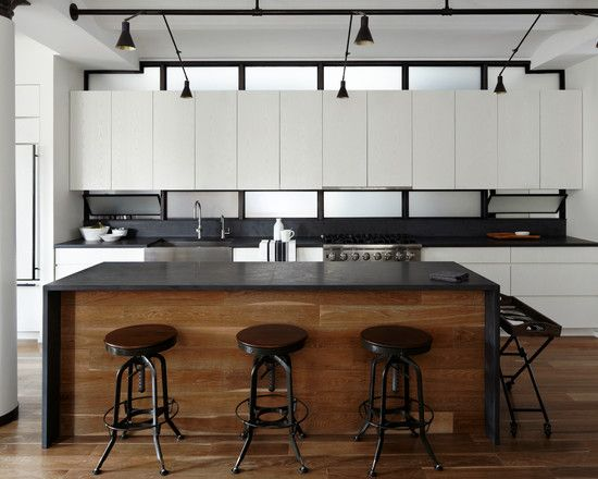Excellent Slate Kitchen Counters : Awesome Contemporary Kitchen Slate Kitchen Counters With Black Countertop Wood Panel White Cabinets Lamin...
