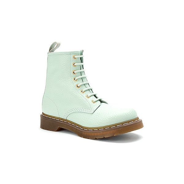 Dr Martens 1460 W 8 Eye Pastel Boot Women's Pastel Mint QQ Pearl (6.250 RUB) ❤ liked on Polyvore featuring shoes, boots, mint green boots, mint boots, pearl shoes, dr martens shoes and pastel boots