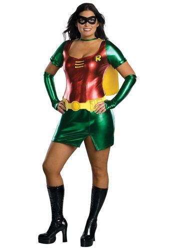 This plus size Robin girl costume is a sexy superhero costume for plus size women. You'll be all set to wow the citizens and villains of Gotham City!