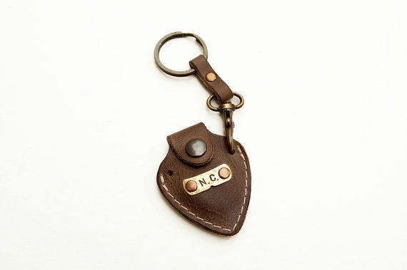 Personalized leather guitar pick holder with by mbgfashionstudio