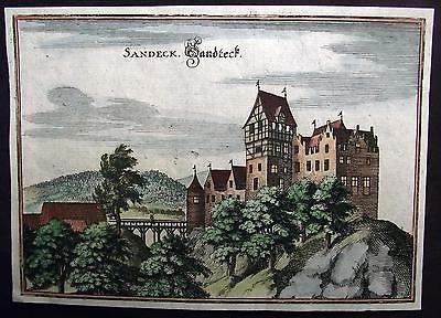 1642 Merian copper engraving SCHLOSS LANDECK SALENSTEIN Thurgau - 370 year old…