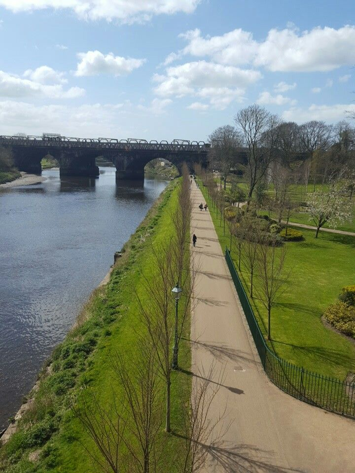 Avenham Park looking down at the River Ribble and the railway line.