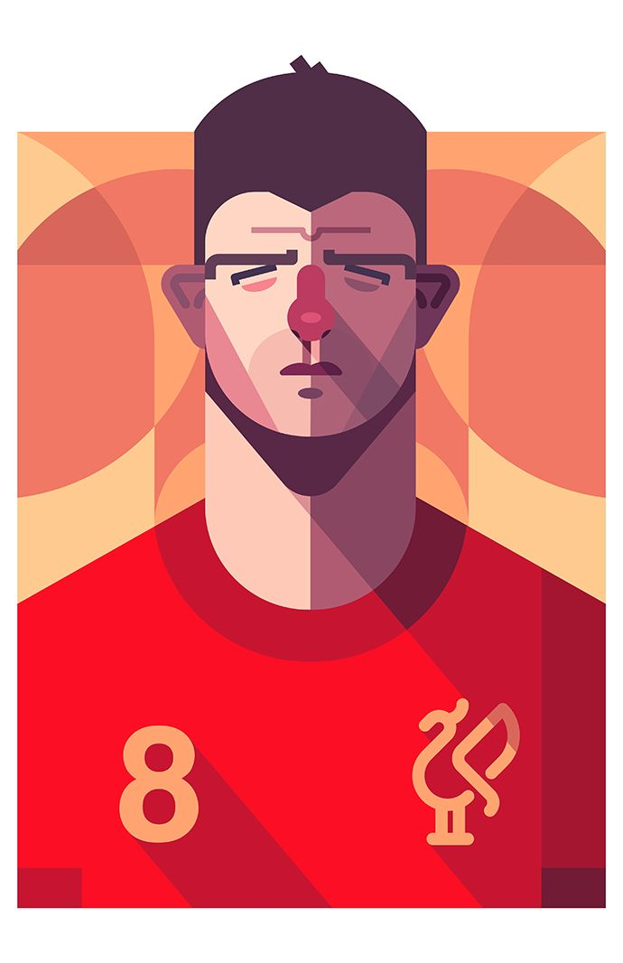 Steven Gerrard, Liverpool FC   Football Players Vector Illustrations by Daniel Nyari.