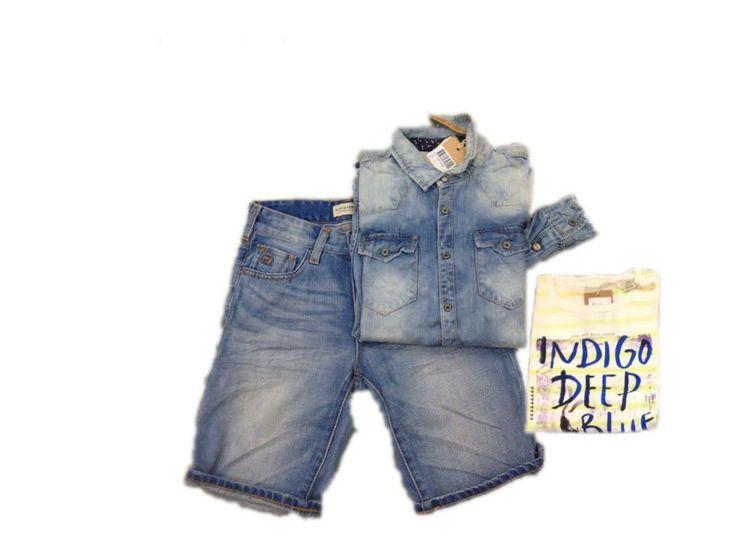 Camicia e bermuda in jeans, t-shirt con scritta 4-14 anni tutto Scotch Shrunk
