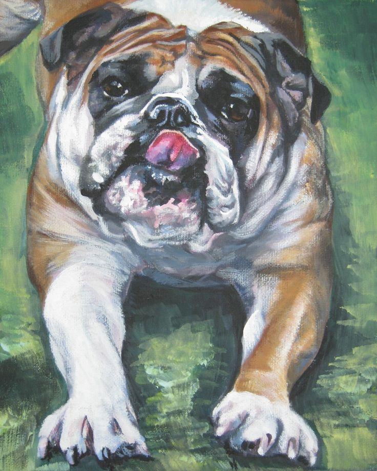 English Bulldog art CANVAS print of LA Shepard painting