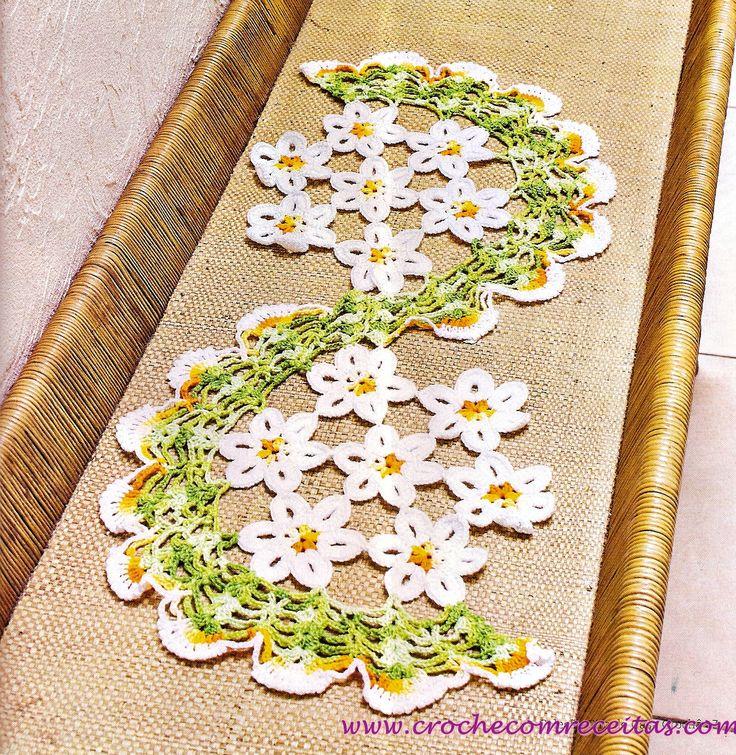 centro de mesa espiral florido em croche com receitas
