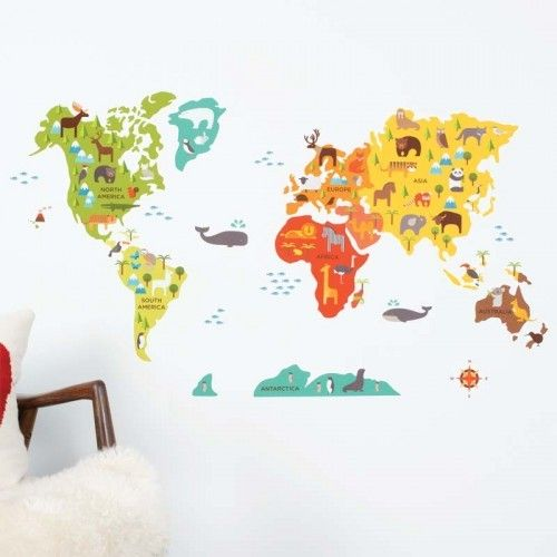 56 best world map decor images on pinterest world maps murals and tommys room petit collage world map fabric wall decal fawnforest gumiabroncs Gallery