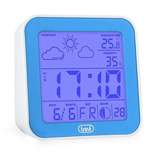 Trevi ME 3105 - Digitaler Wecker mit Wetterstation - Temperaturanzeige, Wettervorhersage durch Hygrometer, Kalender, Batterie-Betrieb - Blau