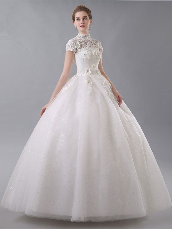 5467448d80bfe Ball Gown High Neck Short Sleeve Corset Open Back Crystal Beaded Lace  Flowers White Wedding Dress