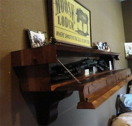 Rustic Barn Wood Mantle with Gun Concealment