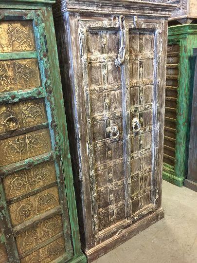 Iron Nailed Spanish Teak Doors White Rustic Armoire