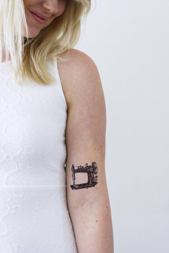 Sewing machine temporary tattoo / vintage temporary tattoo / sewer temporary tattoo / crafter temporary tattoo / sewing gift idea / crafting