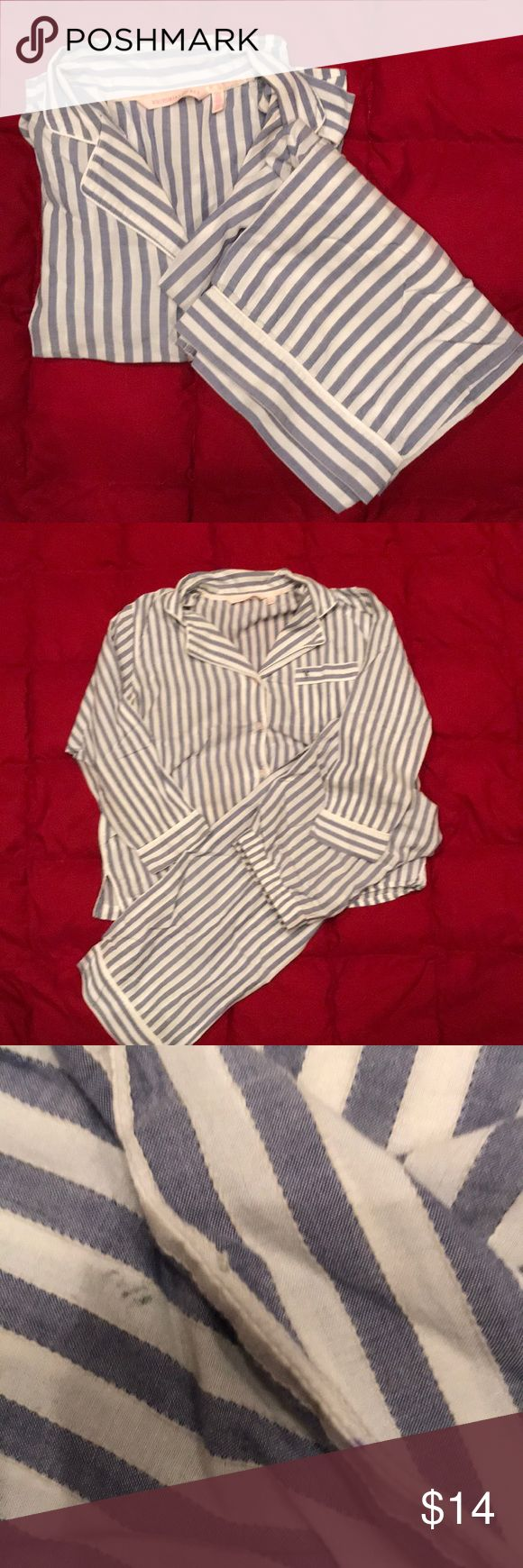 "Victoria Secret PJ Set! Beautiful pajamas with grey-blue and white stripes. Perfect condition!  Washed and dried on delicate cycles. Just trying to narrow my choices, pajama addict!   100% cotton, fits true to size.  Underarm to underarm 20"" Inseam 27"" Two small stains, last pic.  Offers welcome! Victoria's Secret Intimates & Sleepwear Pajamas"