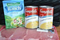 Ranch House Crock Pot Pork Chops Recipe from: Picky Palate 4-6 boneless Pork Chops, 1/2 inch thick 2 (10 ounce) cans Cream of Chicken soup 1 packet Ranch seasoning mix DIRECTIONS: Place pork chops in the bottom of crock pot. Pour the soups over the chops and then sprinkle with ranch seasoning packet. Close the lid and cook on low for 6 hours, or on high for 4 hours. Serve each pork chop with the gravy from the crock pot and some mashed potatoes!