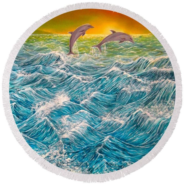 Round Beach Towel, blue,turquoise,accessories,cool,trendy,fancy,beautiful,unique,awesome,modern,artistic,fashionable,unusual,for,sale,design,items,products,ideas,dolphins,waves,ocean