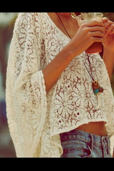 : Boho Chic, Lace Tops, Summer Style, Summer Outfits, White Lace, Lace Shirts, Crochet Tops, Lace Crop Tops, Summer Clothing