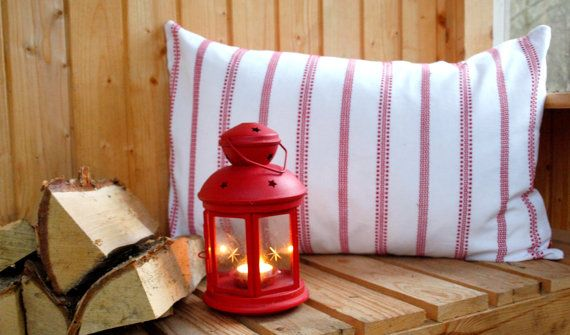 White and red pillowcover  Scandinavian by travelingpillow on Etsy, $33.50