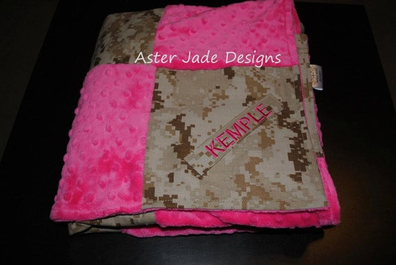 Marine Corps Baby Blanket USMC blanket. $52.00, via Etsy.