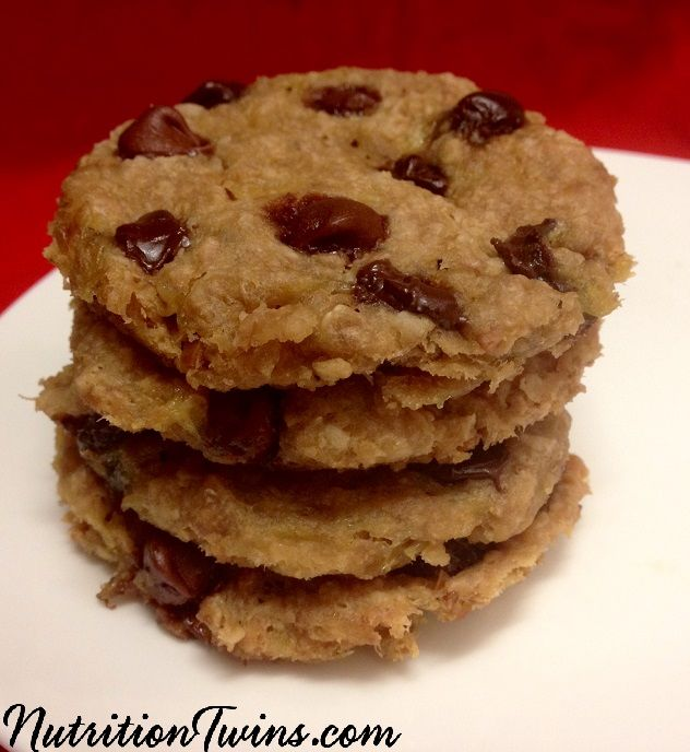 Peanut Butter Chocolate Chip Cookies | Only 89 Calories | Make in 5 Minutes with 5 Ingredients | Healthy & NO sugar | For MORE RECIPES like this & tips please SIGN UP for our FREE NEWSLETTER www.NutritionTwins.com