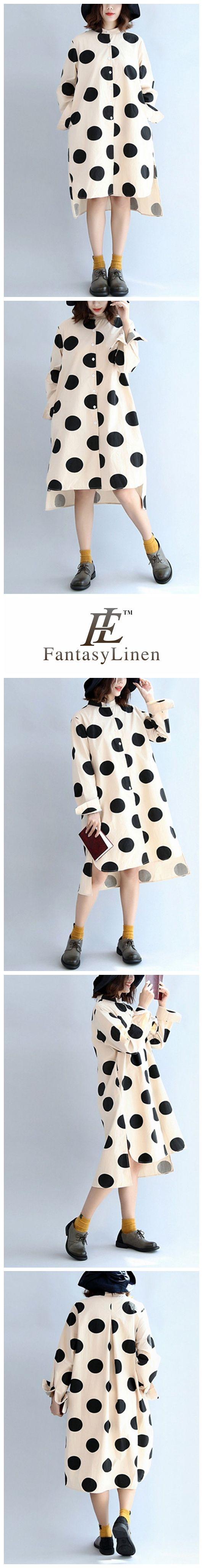 Black Dot Stand Collar Loose Cotton Women Dress Shirt  Q7140