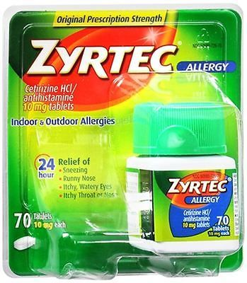 Other OTC Medicine: Zyrtec Allergy 10 Mg Tablets 70 Tablets (Pack Of 2) BUY IT NOW ONLY: $69.47