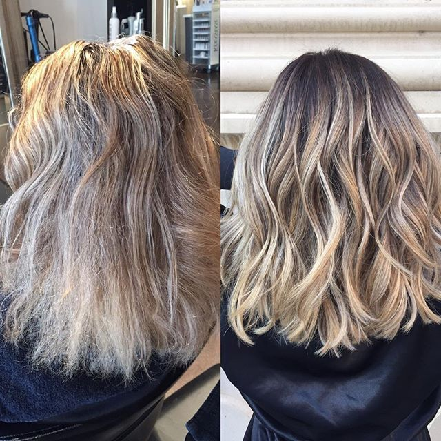 This was a fun color correction. My client came in with a full highlight low light, her hair was very damaged at the ends and had tons of bleed spots. She wanted  more of a rooted blonde so I did a reverse balayage and it turned out perfect. #hairbyheather #hair #haircolor #hairstyling #balayage #balayagespecialist #colorcorrection #hairstylistofdenver #denverhair #brazilianbondbuilder