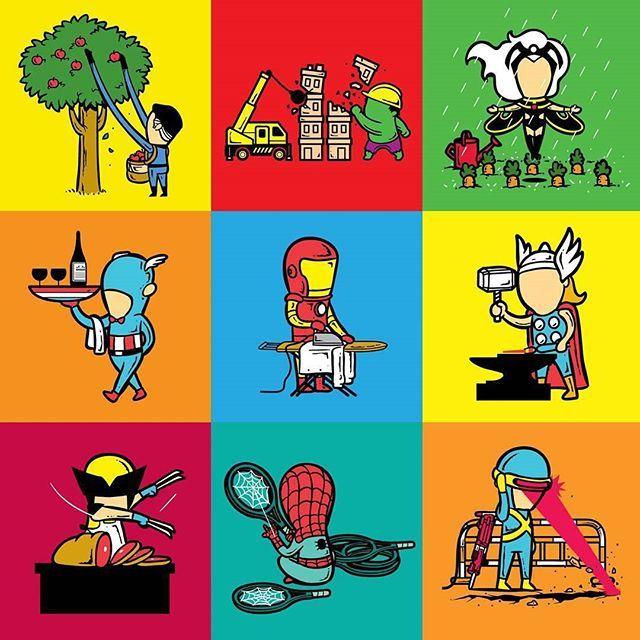 An ordinary day in the life of a superhero. #captainamerica #ironman #avengers #civilwar #spiderman #epic #cool #wolverine #xmen #apocalypse #deadpool #picoftheday #instadaily #instagood #followme #art #artwork #amazing #daredevil #jessicajones #hulk #dope #MARVEL