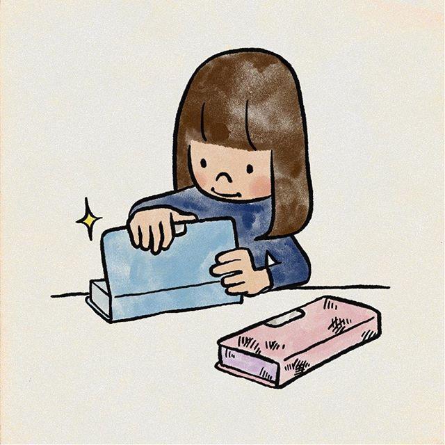 2年生を目前に筆箱を新調ピンク好きだった子がすっかり青好きに変わってました こども 筆箱 イラスト