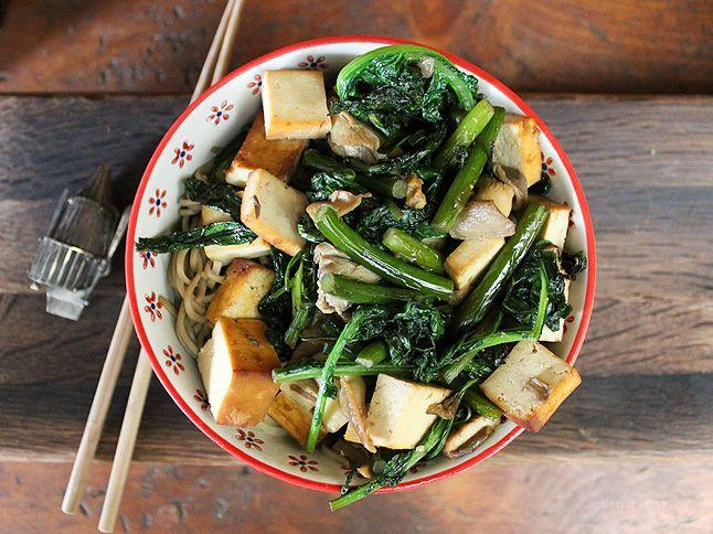 Tofu Teriyaki Stir-Fry over Soba Noodles - Vegan