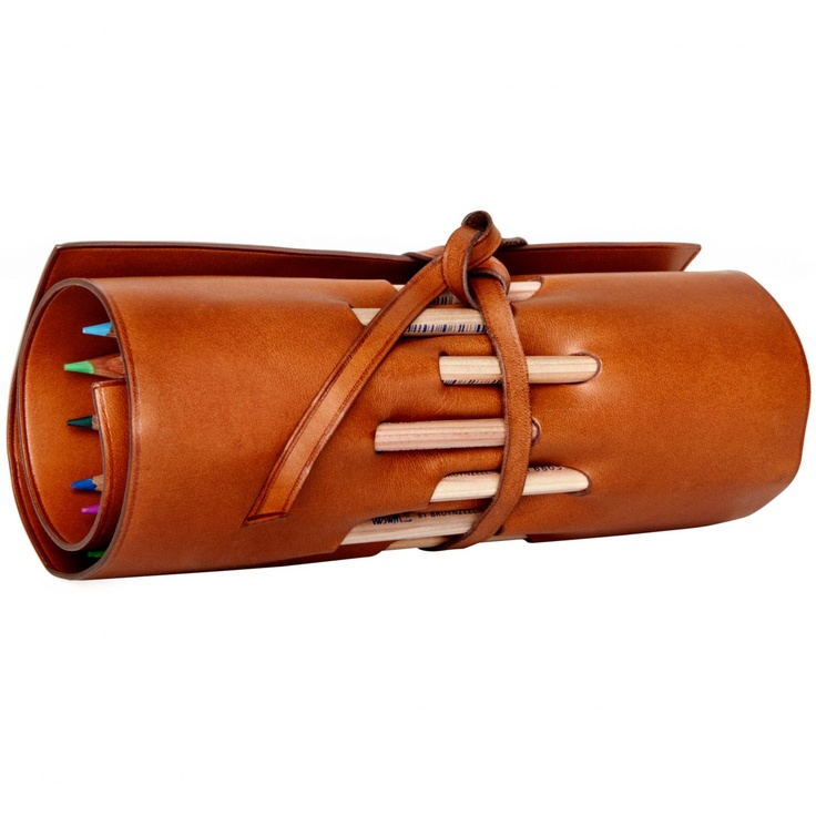 Pencil Holder, Florentine Vachetta leather Hand made in Italy.