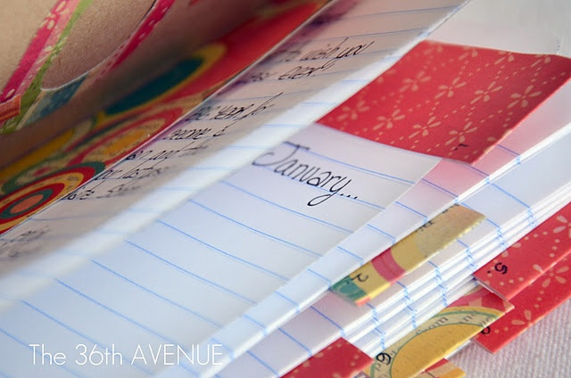 DIY New Year's Eve Journal - a book for you (or your children) to write down all the special memories of 2012 - month by month!