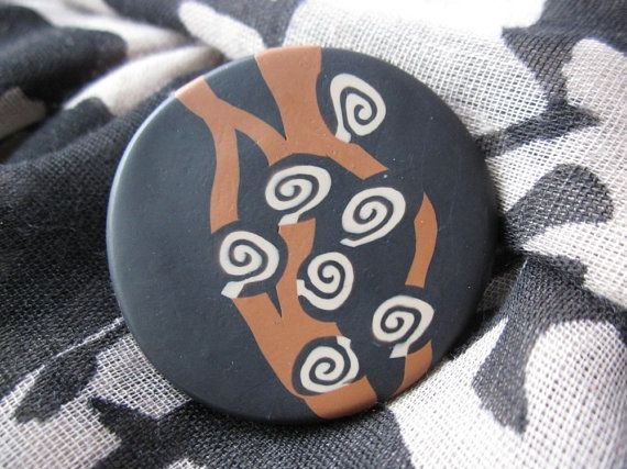Bold African tribal style brooch black and tan polymer by Lagneys, £10.00