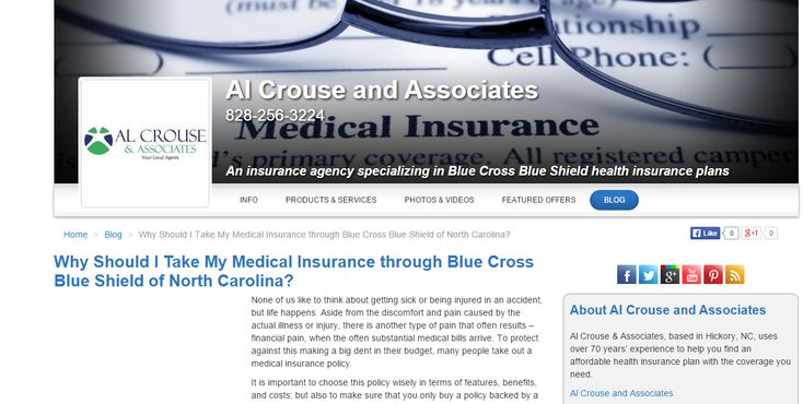 Why Should I Take My Medical Insurance through Blue Cross Blue Shield of North Carolina; blog post for Al Crouse and Associates (USA) Need similar (or other copywriting/web content) work done? Contact me - darrell@wordtiffie.co.za #wordtiffie