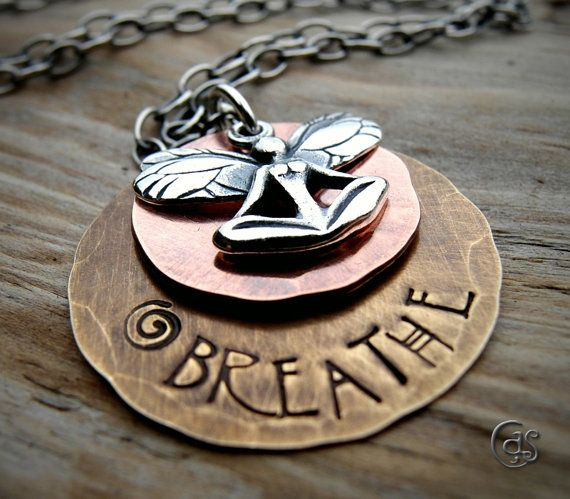 I love everything about this necklace.: Style, Metal Stamping, Breathe Pendant, Necklaces, Breathe Jewelry, Breathe Respiratory, Jewelry Pendants, Craft Ideas, Breathe Yoga