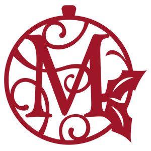 Silhouette Design Store - View Design #164608: christmas monogram ornament m