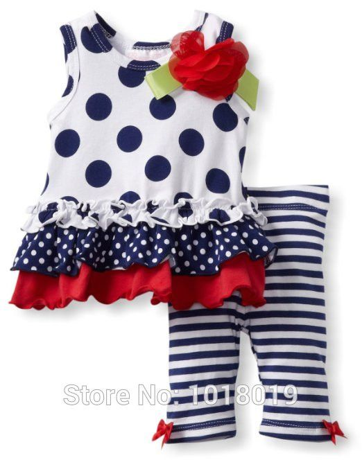 Polka Dot Cotton Summer Carters Baby Girls 2pcs Clothing Set