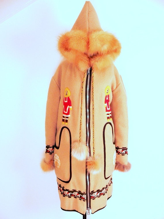 Eskimo Inuit FELTED WOOL PARKA Anorak Coat Fur by HousewifeVintage, $275.00