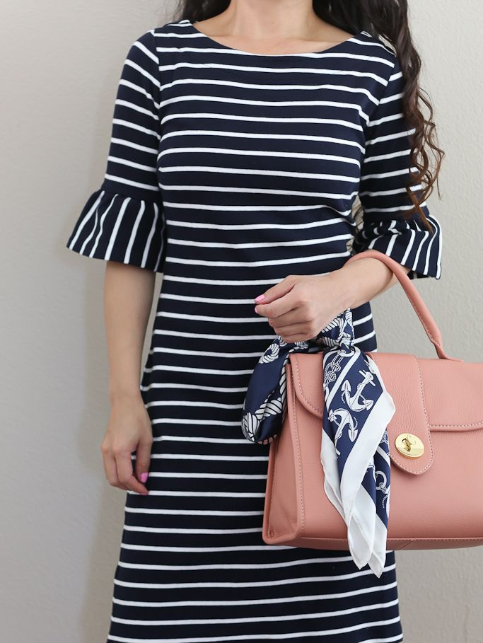 striped flounce sleeve shift dress, top handle pebbled leather satchel, anchor nautical silk scarf, petite fashion, spring outfit - click on the photo for outfit details!