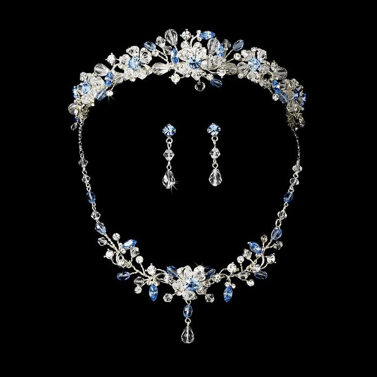 quinceanera jewelry blue tiara and jewelry set