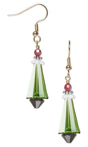 Christmas Tree Earrings with SWAROVSKI ELEMENTS, Czech Pressed Glass Beads and Sterling Silver Beads