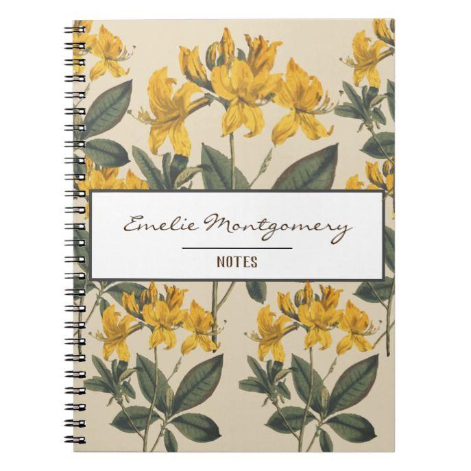 Vintage Botanical Yellow Azalea Flowers Name Notebook Zazzle Com Azalea Flower Vintage Botanical Flower Names