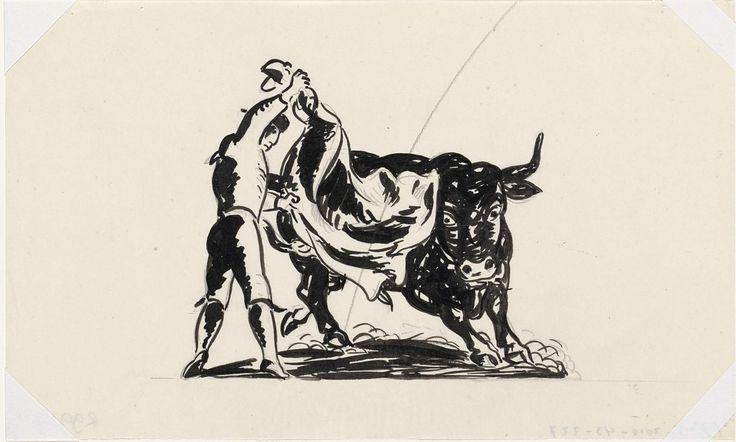 Leo Gestel   Vignet voor De Gemeenschap (ontwerp), Leo Gestel, c. 1935   Stierenvechter met opgeheven muleta (rode lap), waar ondervandaan rechts van hem een stier frontaal te voorschijn komt.