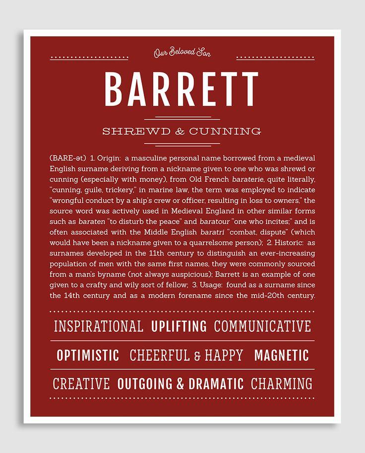 Barrett | Classic Name Print | Classic names, Names with ...